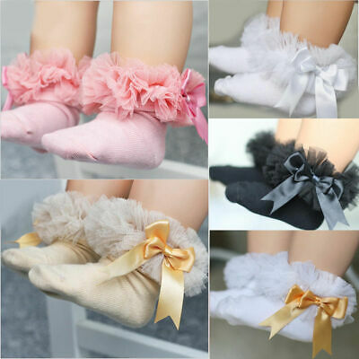 Baby Girls Kids Princess Bowknot Lace Ruffle Frilly Trim Cotton Ankle Socks S ~L