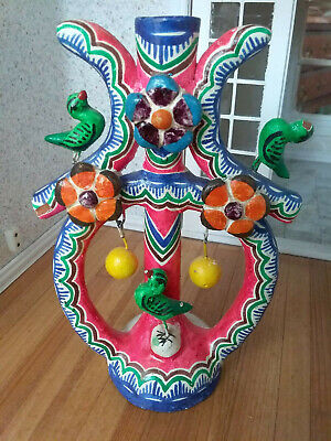 Vintage Mexican Folk Art Pottery TREE OF LIFE Candelabra  Bird, fruits, flowers