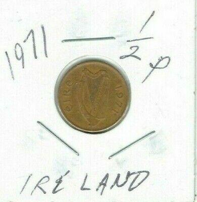 1971 Ireland 1/2p Half Penny Bronze Coin - Celtic Stylized Bird