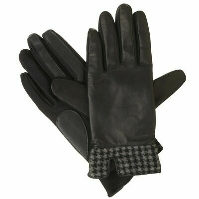 ISOTONER Black Stretch Leather Houndstooth Trim smarTouch Womens Gloves XL