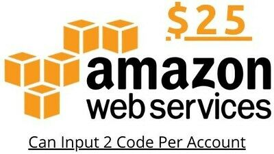 $25 AWS Amazon Web Services Credit Code Credit Code