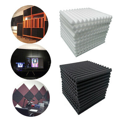 12PCS Wedge Foam Tiles Wall Studui Soundproofing Acoustic Panel White & Black UK