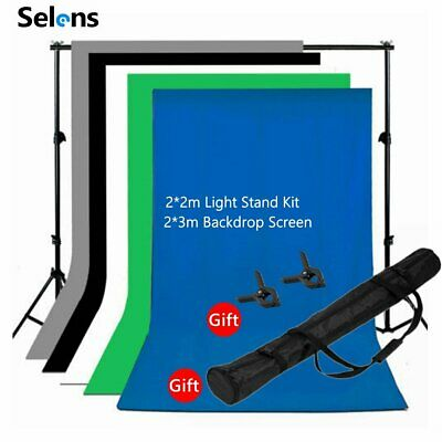 Photography BLACK WHITE GREEN Backdrop Photo Background Studio Screen Stand Kit