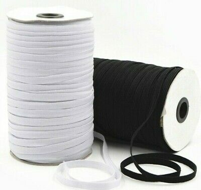White Flat Elastic  6mm 5m 10m  15m Lengths Face Coverings 1ST CLASS POST
