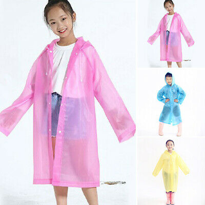 Kids Raincoat Poncho Cape Unisex Girls Outdoor Jacket Hooded Rain Coat