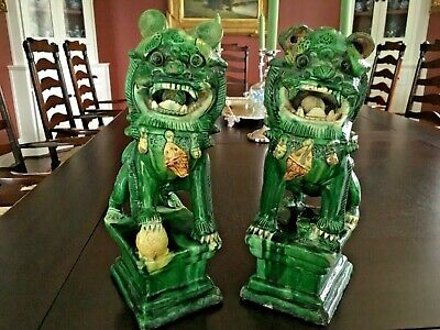 Pair Of Antique Male And Female Chinese Foo Lion Dog Roof Tiles 19Th Century