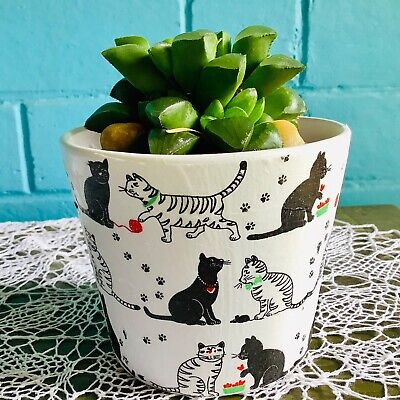 Hand decorated ceramic flower pot with cats