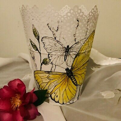 White galvanised steel hand decorated planter pot with yellow butterflies