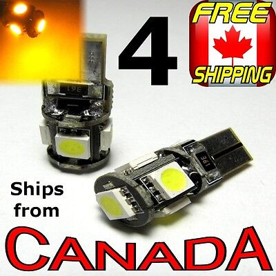 """4x CANBUS Yellow/Amber LED Bulbs - 5x5050 chips - T10 194, """"Error Free"""""""