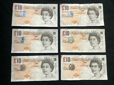 Old £10 Ten Pound Paper Note Charles Darwin VICTORIA CLELAND 1st Class Post Rare