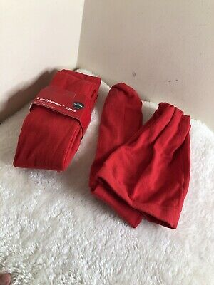 M&S Girls 3 Pairs Soft Cotton Body Sensor Tights Age 11-12 years Red School