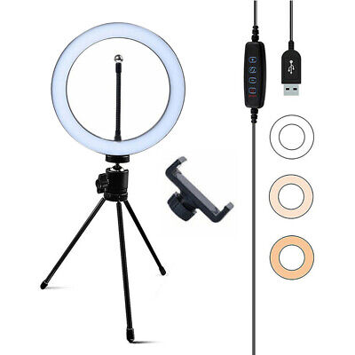 """LED Ring Light Dimmable with Tripod Stand Video Selfie Makeup Fill Lamp 6"""" 10"""""""