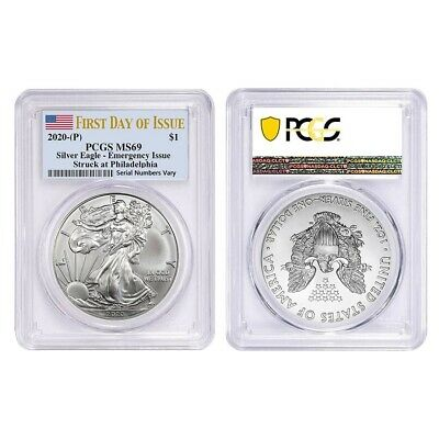 Lot of 2 - 2020 (P) 1 oz Silver American Eagle PCGS MS 69 FDOI Emergency Issue