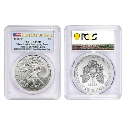Lot of 2 - 2020 (P) 1 oz Silver American Eagle PCGS MS 70 FDOI Emergency Issue
