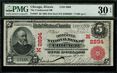 1902 $5 National - Chicago, IL - FR.587 Charter 2894 - PMG 30 EPQ - Red Seal