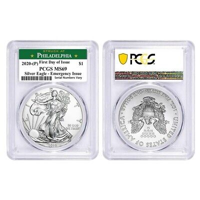 Lot of 2-2020 (P) 1 oz Silver Eagle PCGS MS 69 FDOI Philadelphia Emergency Issue