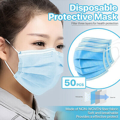 50/100/200/500 Pcs 3-Ply Disposable Face Mask Non Medical Surgical Earloop Cover