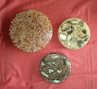 Lot of 3 Vintage Three Footed Lucite​ Trivets 2 with Abalone and 1 with Shells
