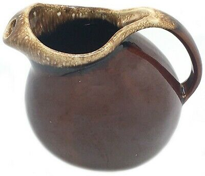Vintage Hull USA Pottery Oven Proof Ball Brown Drip Glaze Pitcher