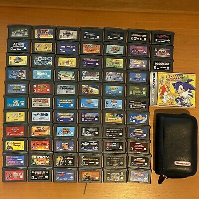 HUGE Nintendo Gameboy Advance GBA Game Lot 69 Game Boy Games & Carry Case