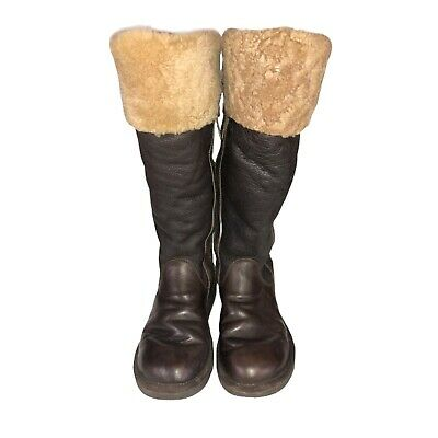 UGG Loracano Shearling Bomber Tall Boots Shoes Brown Womens Size 7   2313