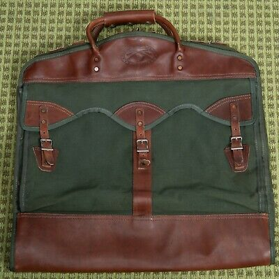 Vintage GOKEYS ORVIS Canvas & Leather Battenkill Green Clothing Hanging Bag cary