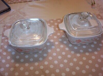 Corning Ware Peach Floral Petite Casserole Dishes With New Glass Lids