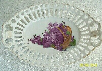 Lace Plate.  Victorian Violet Design. Oval.  Dish . 8 x 5 ins.