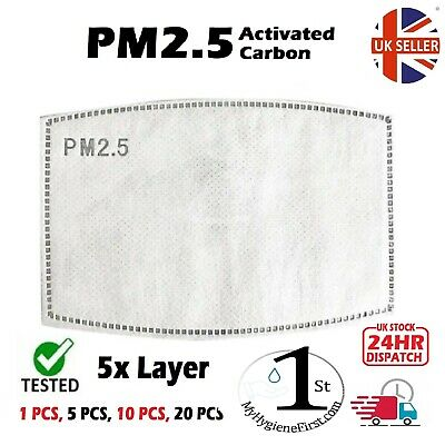 Adult PM2.5 - 5 layer, Activated Carbon Filter Replacements --UK SELLER--