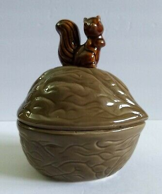 Vintage Ceramic Lidded Nut Dish Shaped Walnut with Brown Squirrel on Top