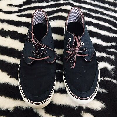Mens Boys Lace up Casual Navy White Canvas Boat Deck Summer Shoes Size