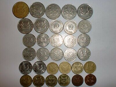 Singapore Coins Lot- 32 Old&New Coins(1 Dollar-1 Cent)Some Duplicates-1981-2007