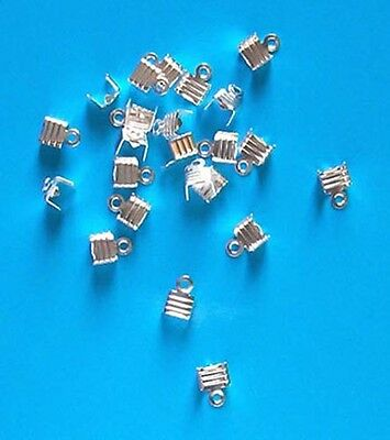200 Pcs 9mm Silver Plated Folding End Tips Cord Craft Jewellery Findings G93