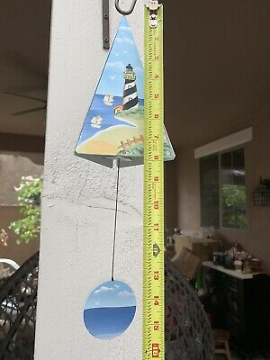 """16"""" Pyramid Triangle Shaped Hand Painted Lighthouse Birds Metal Wind Chime Bell"""