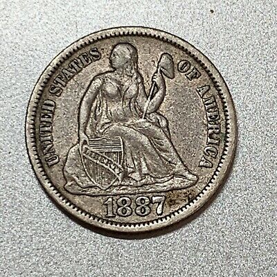 1887 Seated Liberty Dime   Nice Detail. Key Type Coin