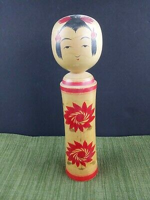 Vtg Antique Wooden Painted Kokeshi Doll Japanese Signed 9.75""