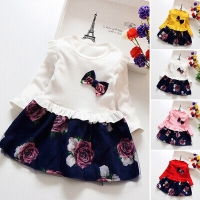 Toddler Child Kid Baby Girl Winter Floral Print Princess Party Mini A Line Dress