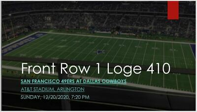 2 Tickets Dallas Cowboys vs San Francis 49ers Loge 410 Row 1 REFUND IF NOT PLAY