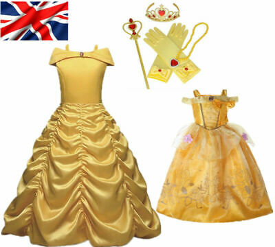 GIRLS GOLDEN BEAUTY PRINCESS YELLOW FANCY DRESS COSTUME BOOK FILM CHARACTER