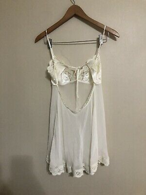 Victoria's Secret Ivory Lace Sheer Tie Back Nightie Babydoll Gown