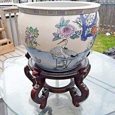 Large Antique Chinese Porcelain Lotus Flower Koi Fish Bowl with Crane and stand