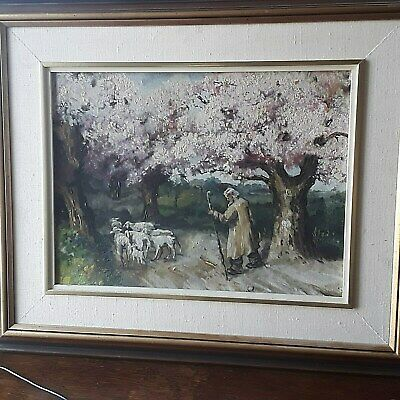Old OIL PAINTING Herd of  Sheep and Sheep Herder RELIGIOUS Country Farm Scenery