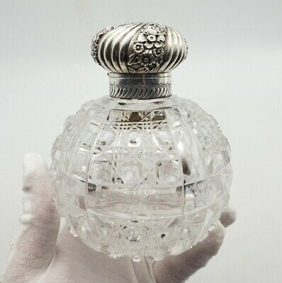 Antique Victorian Perfume Scent Bottle - Cut Glass Crystal & Silver Lid - 1890