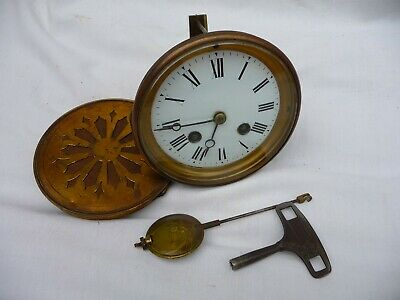Antique French Bell Striking Clock Movement Set And key 1890s Project Working
