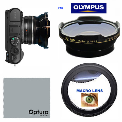 HD3 WIDE ANGLE LENS + MACRO LENS FOR Olympus PEN E-PL10 MIRRORLESS DSLR CAMERA
