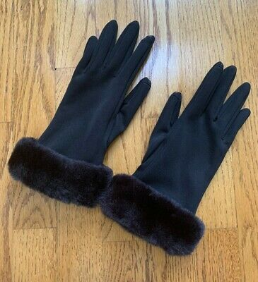 Black Screen Touch Winter Gloves With Faux Fur Cuff Accents - One Size -NWOT