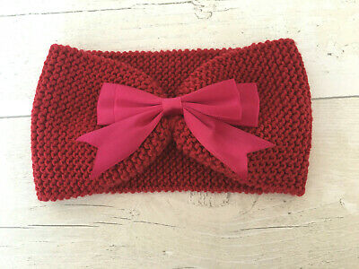 HANDKNITTED *Brand New*  Baby Headband/Earwarmer ~ Red
