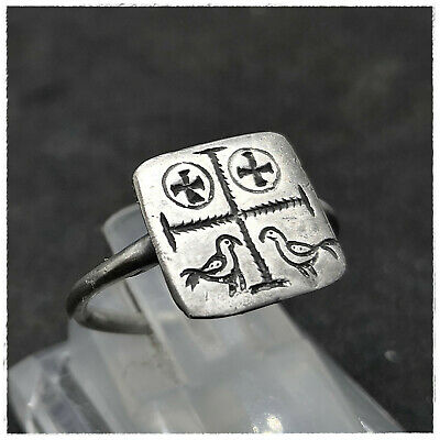 """  CROSS "" Ancient SILVER BYZANTINE RING !!!! 2,57g"