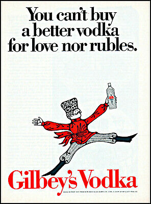 1968 Dancing Russian Gilbey's Vodka love nor rubles vintage art print ad ads70