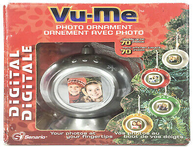 Vu-Me Digital Photo Ornament Display 70 Photos Silver Christmas Tree Ornament